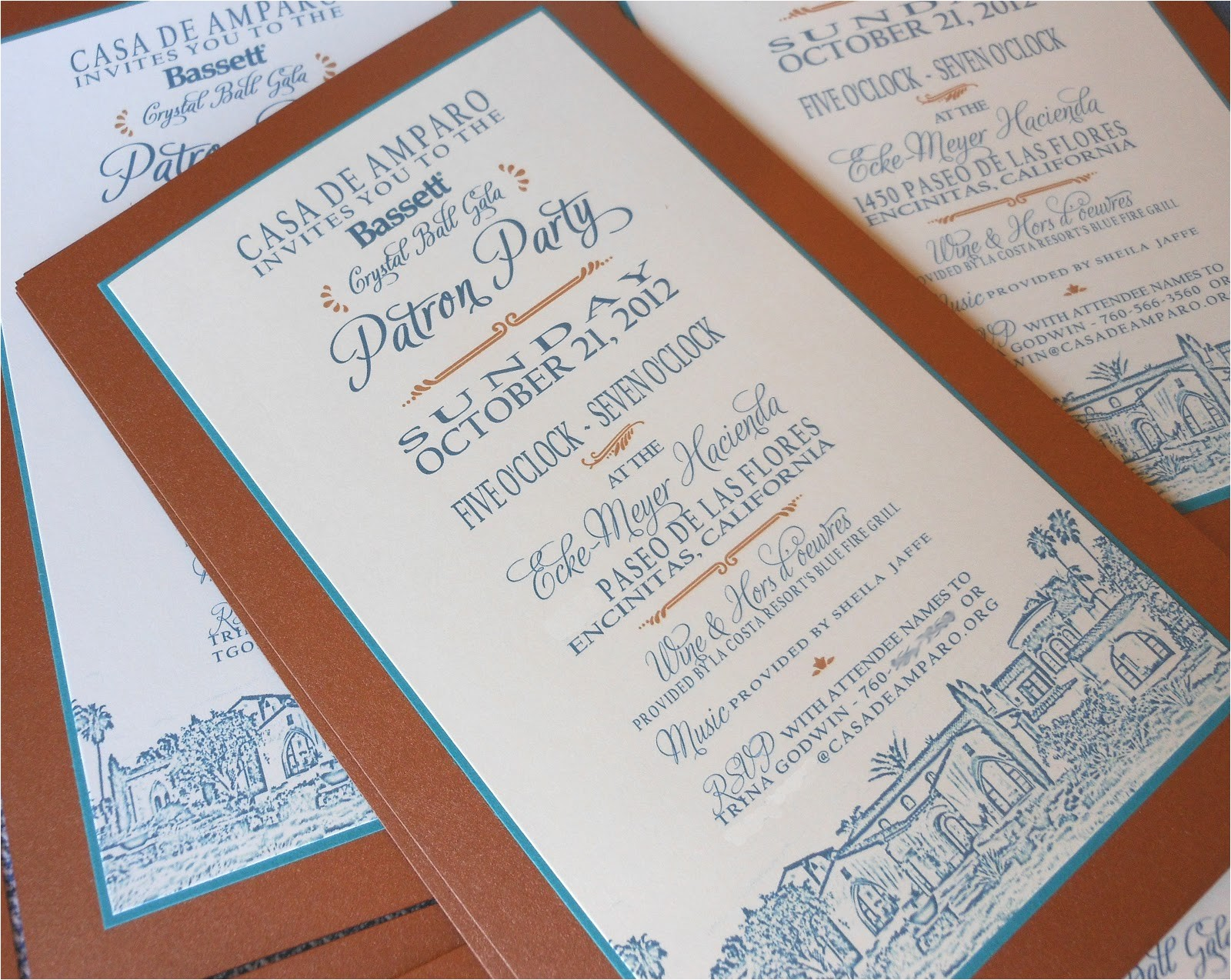 copper and teal invitation for patron