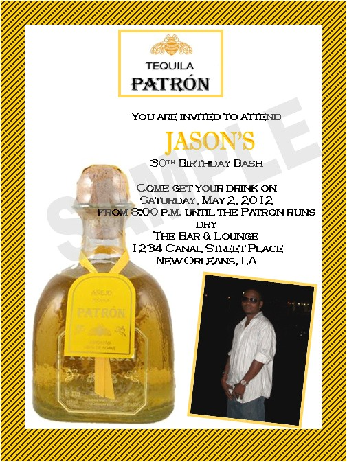 patron theme birthday invitations