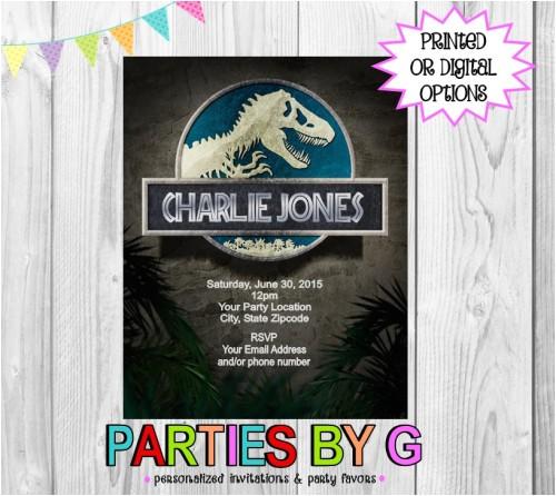 jurassic park dinosaur birthday party invitations personalized custom