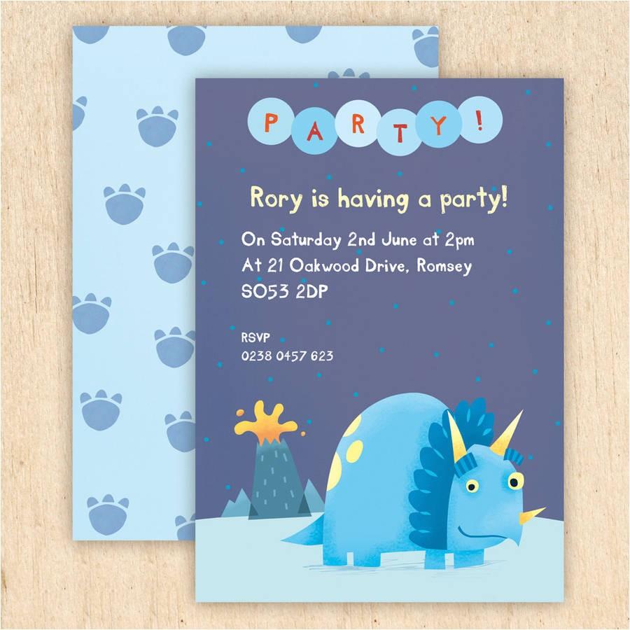 personalised dinosaur party invitations