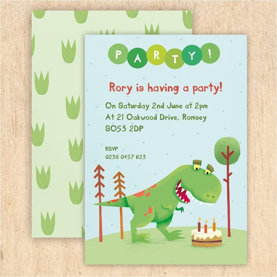 Personalised Dinosaur Party Invitations Personalised Dinosaur Party Invitations by Made by Ellis