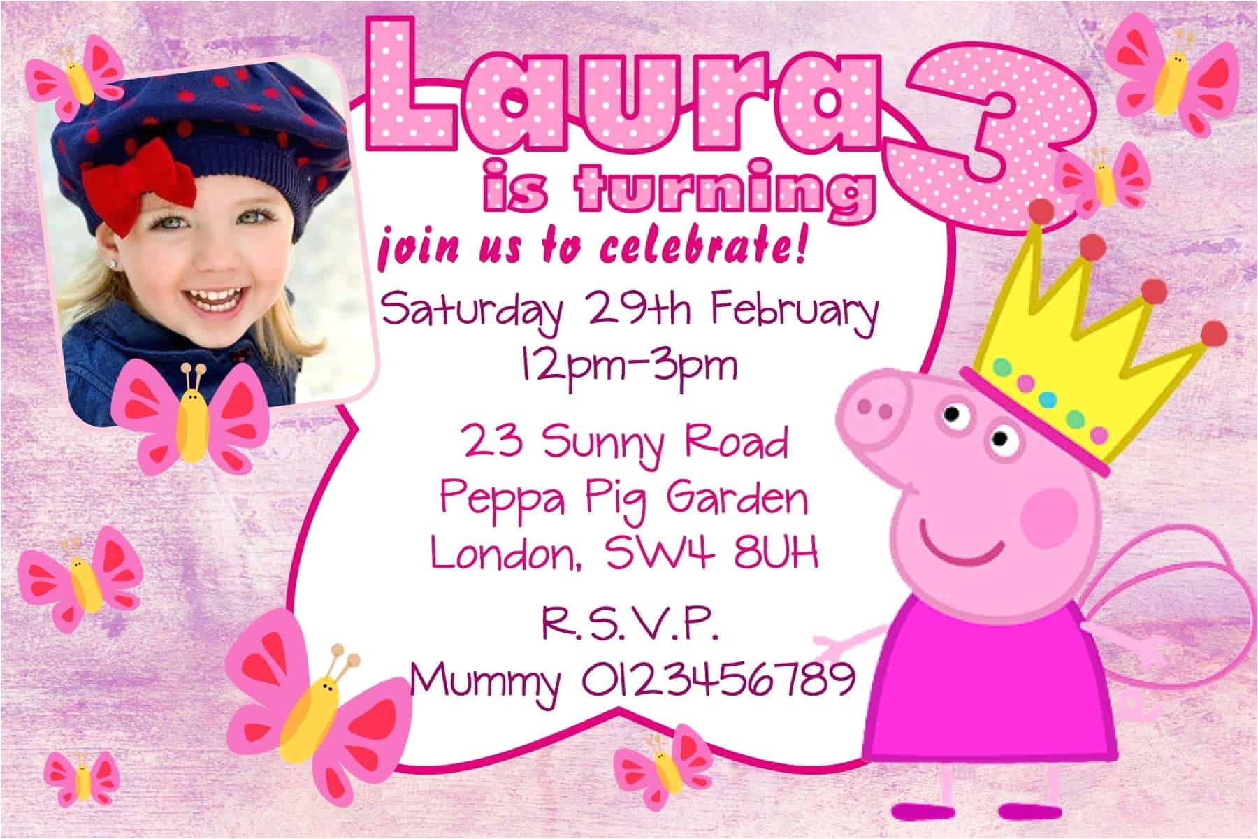 10 personalised pink peppa pig birthday party invitations