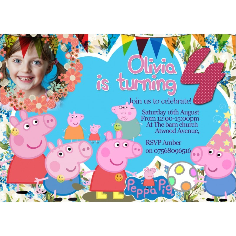 116 personalized pepa pig party invitationsthank you cards