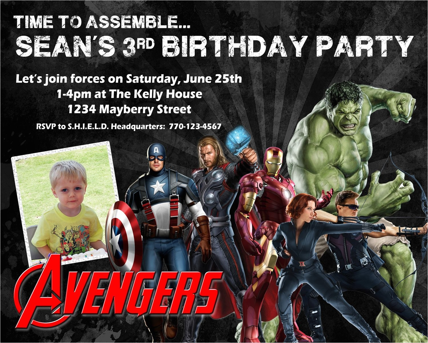 avengers birthday invitation design w