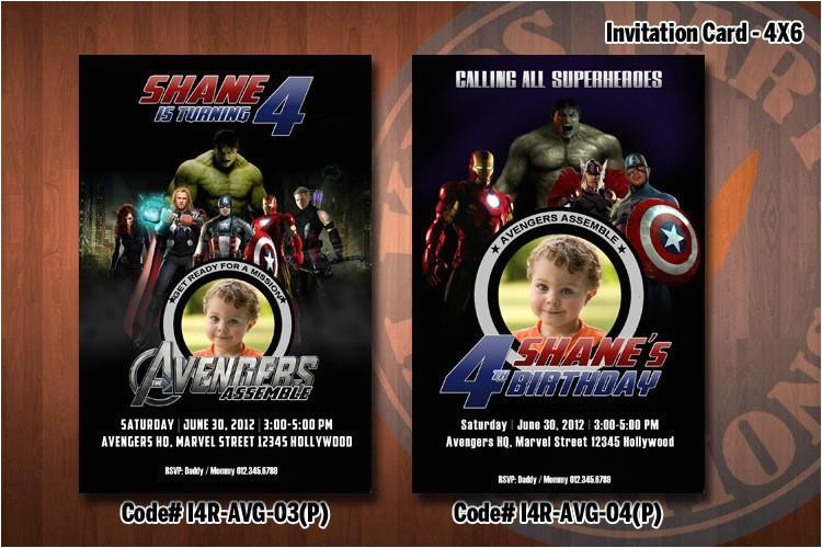 personalized avengers birthday party invitation 4x6 with photo