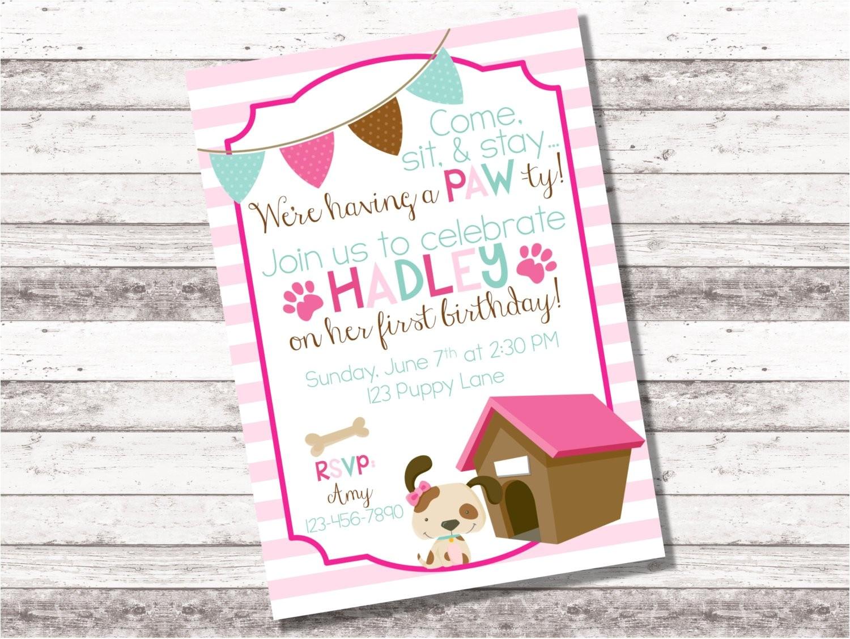 girls puppy birthday invitation 1st 2nd