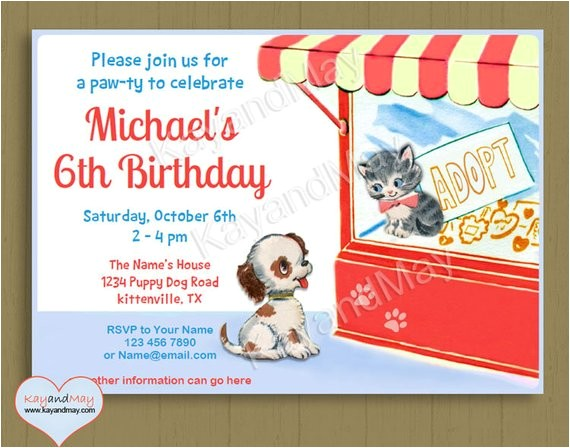 pet adoption party invitation custom
