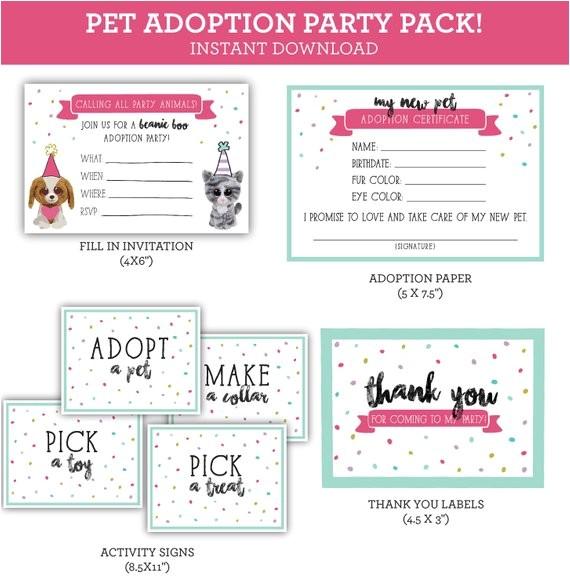 pet adoption beanie boo printable party