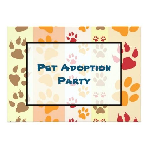 pet adoption party paw print pattern invitation 256871860290840425