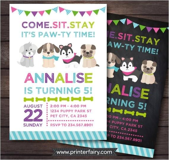 puppy invitation puppy birthday party pet