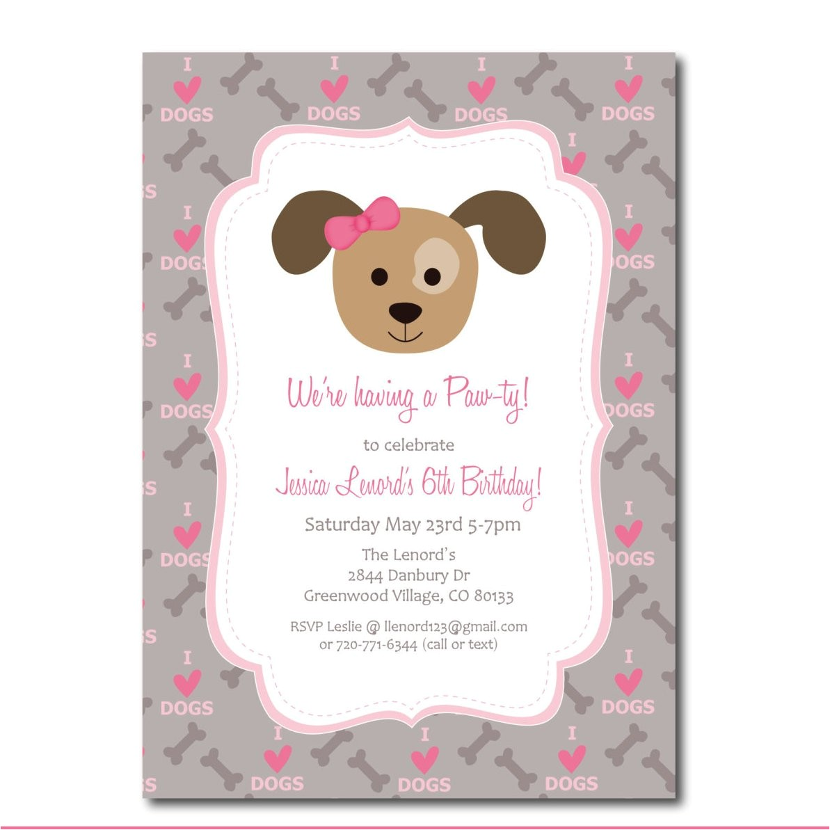 puppy party invitation with editable