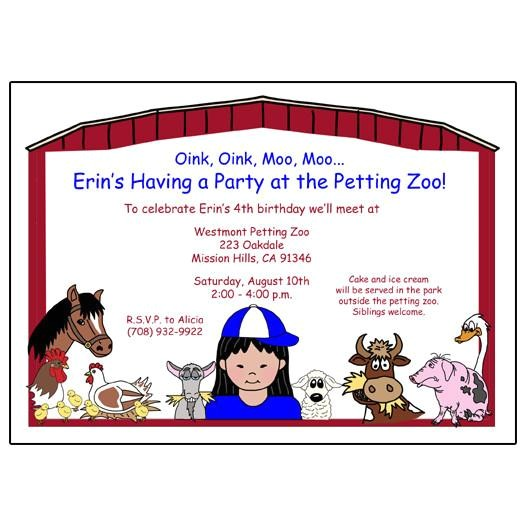 barnyard petting zoo party invitations girl