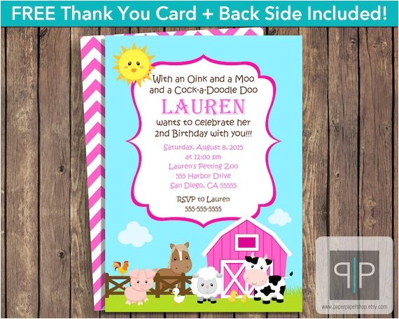 instant download farm animals birthday invitation