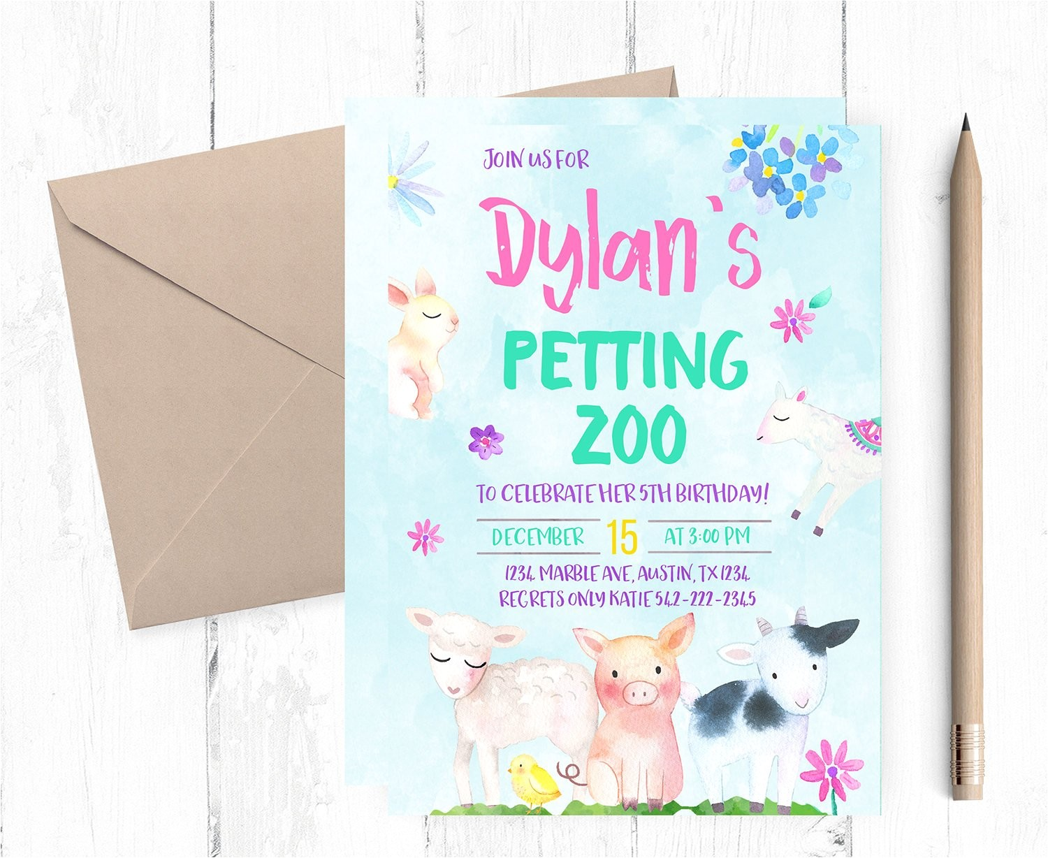 petting zoo invitations farm birthday