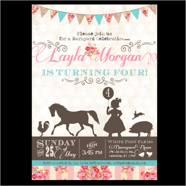 pretty petting zoo birthday invitations