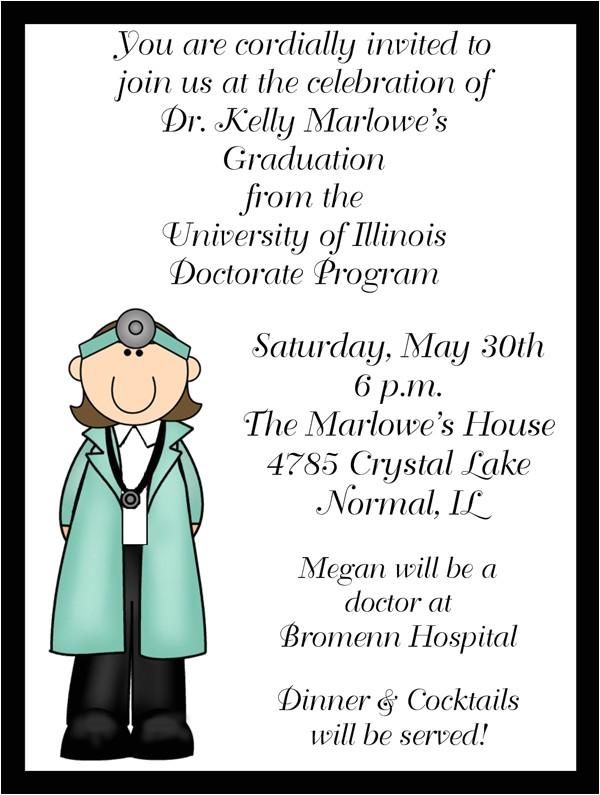 female doctorate graduation invitations