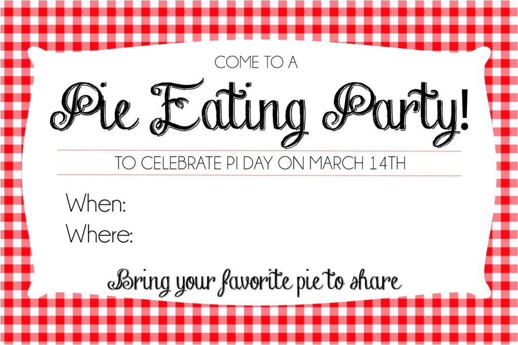 host pie day party printable invites
