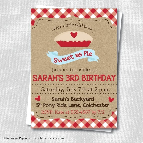 sweet as pie birthday invitation classic