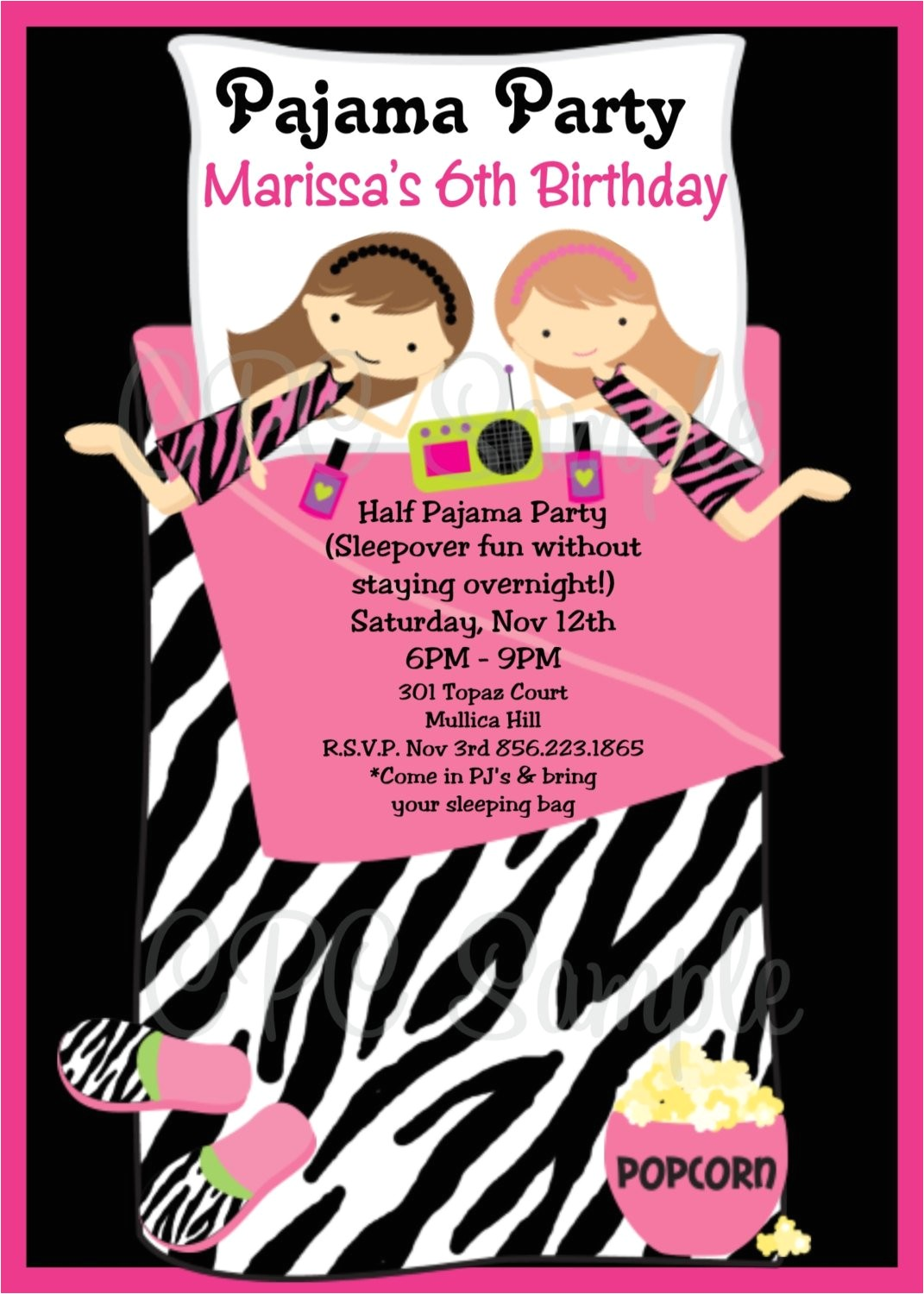 pajama party birthday invitation