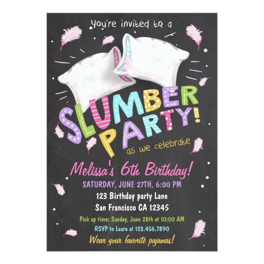 slumber party pajamas sleepover invitation 256196204700416536