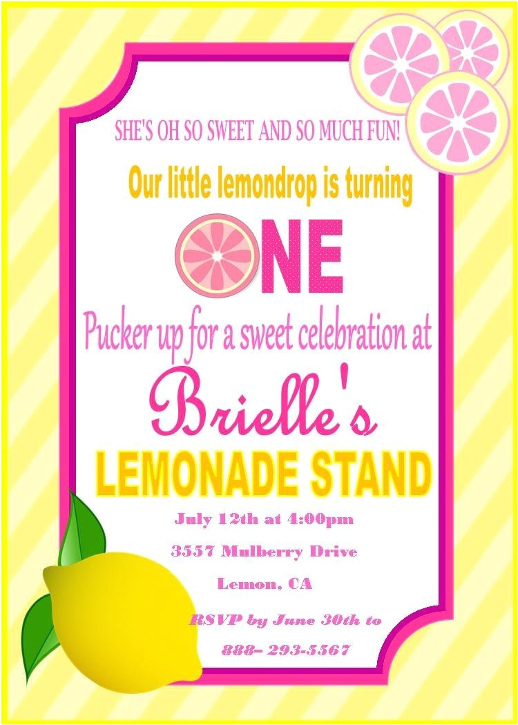 pink lemonade birthday invitation pink