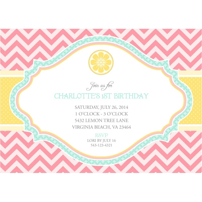 pink lemonade party invitation