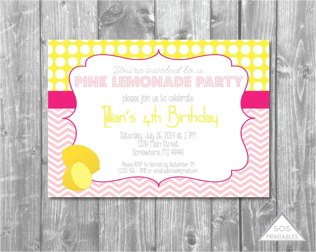 pink lemonade party invitation lemonade