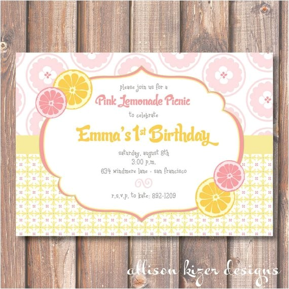 pink lemonade printable invitation