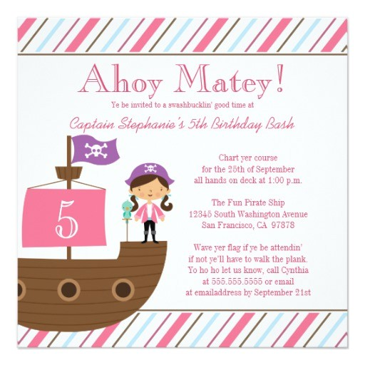 cute pink girls pirate birthday party invitation 161220100347354722