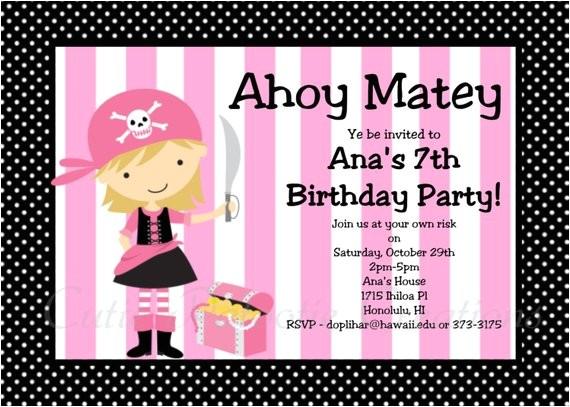 pirate birthday invitation girl pink