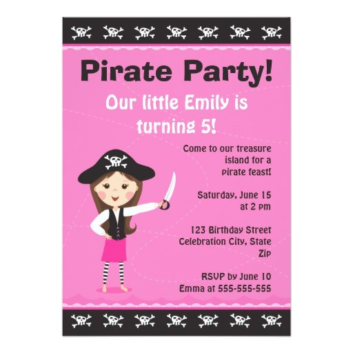 pink pirate birthday party invitation 161497890084663172