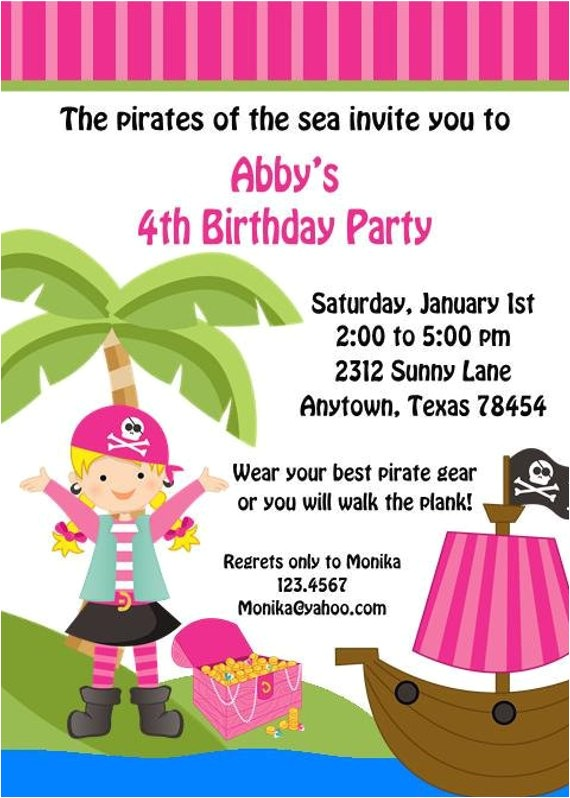 pink pirate birthday party invitations blonde