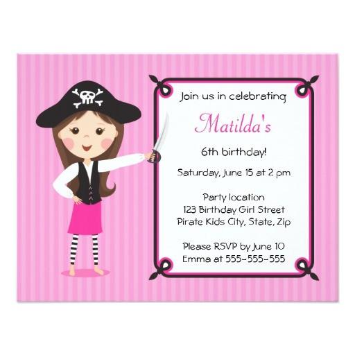 pink pirate cute girly birthday invitation 161701229587421453