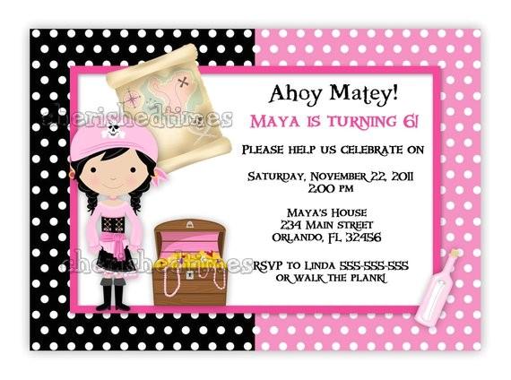 pink pirate girl birthday invitation
