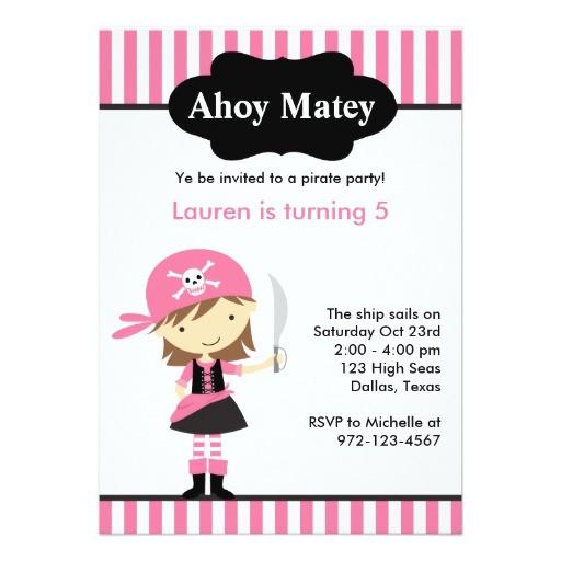 pink pirate girl birthday invitations 161631559662583879