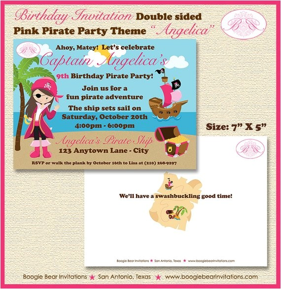 pink pirate girl party invitation
