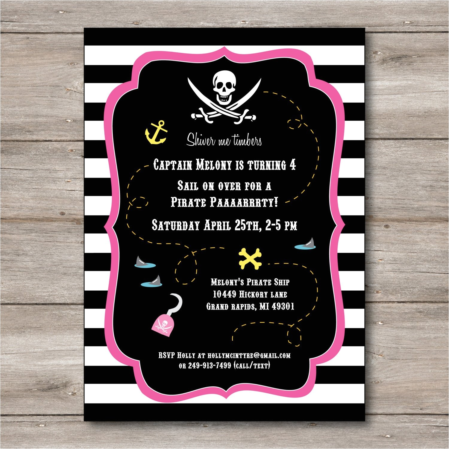 pink pirate invitation with editable