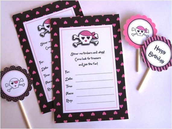Pink Pirate Party Invitations Pink Pirate Party Printable Party Invitations and Matching