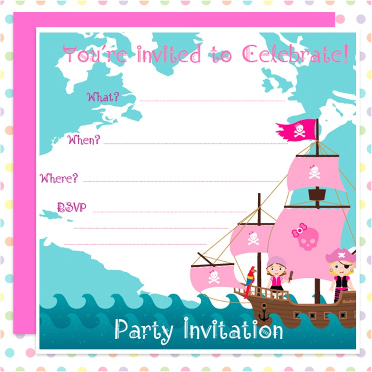pink pirate party invitation