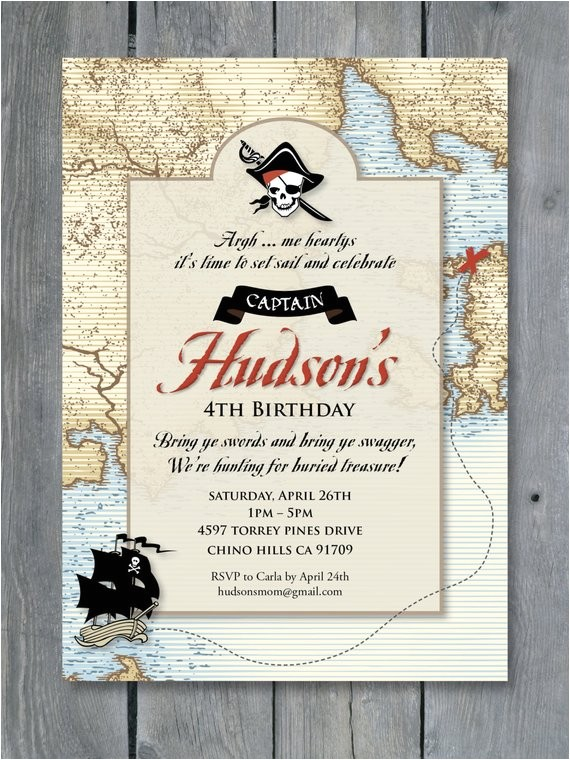 pirate invitation birthday party vintage pirates