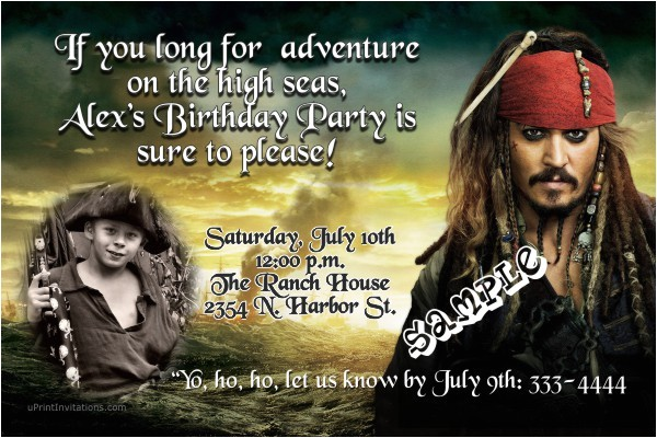 pirates of the caribbean birthday invitation