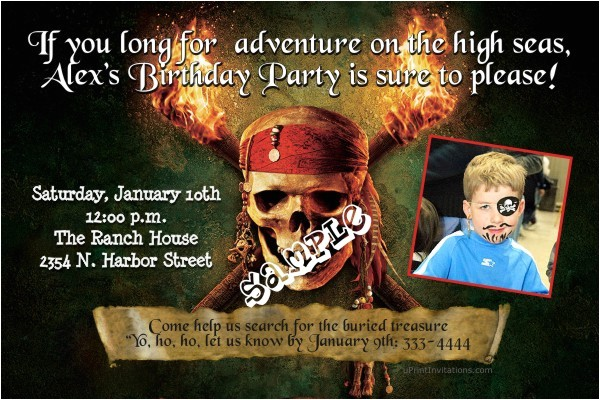 pirates of the caribbean birthday invitations