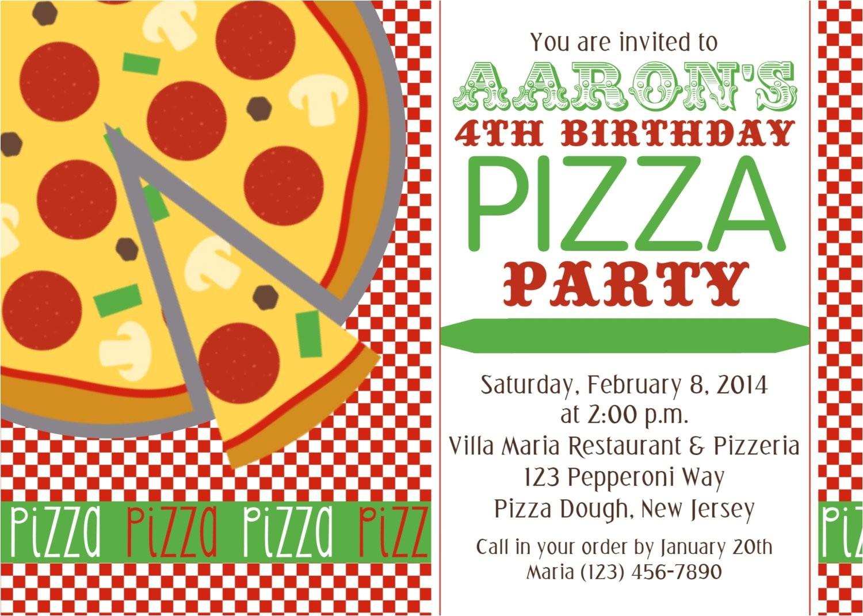 pizza party invitation personalized