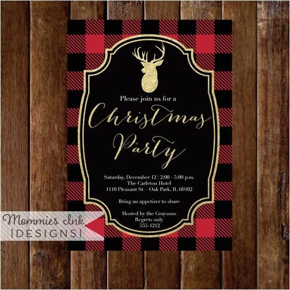 holiday party invitation buffalo plaid