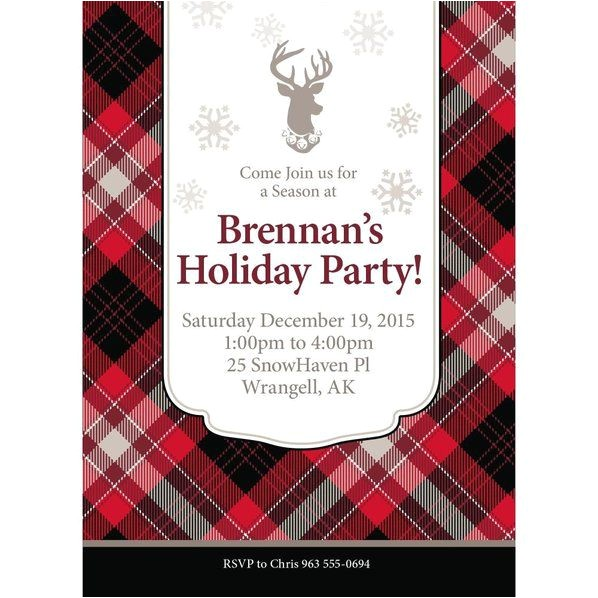 holiday plaid personalized invitation each