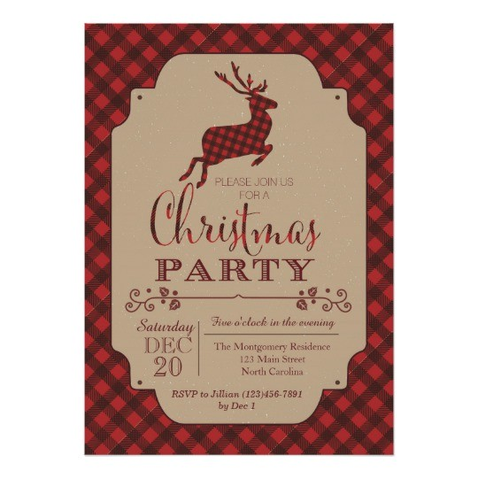 plaid christmas party holiday invitation 256151059190719629