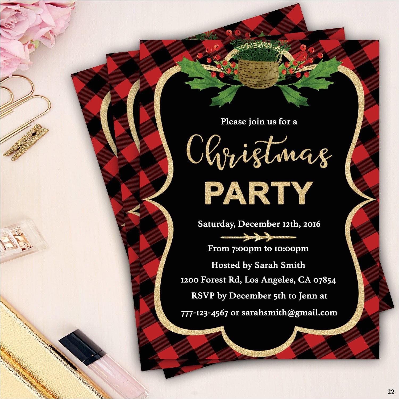 plaid christmas party invitation xmas