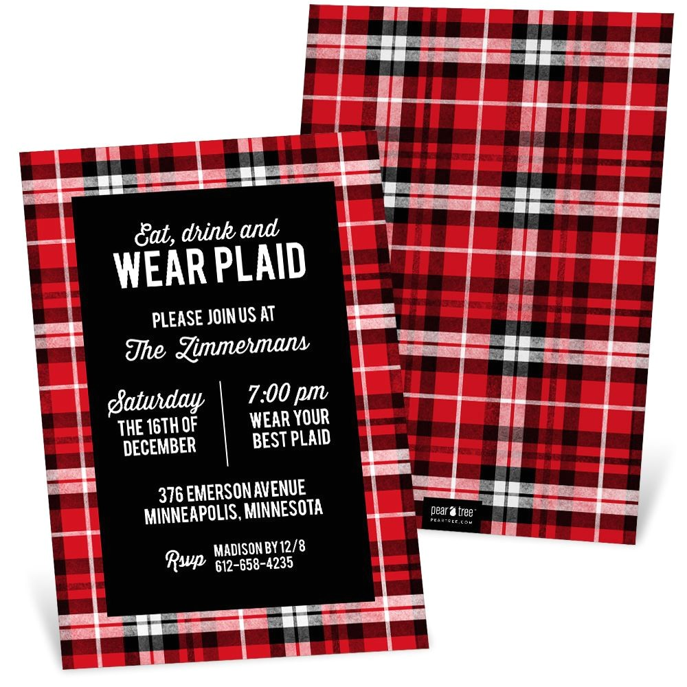 Plaid Christmas Party Invitations Plaid Party Holiday Party Invitation Pear Tree