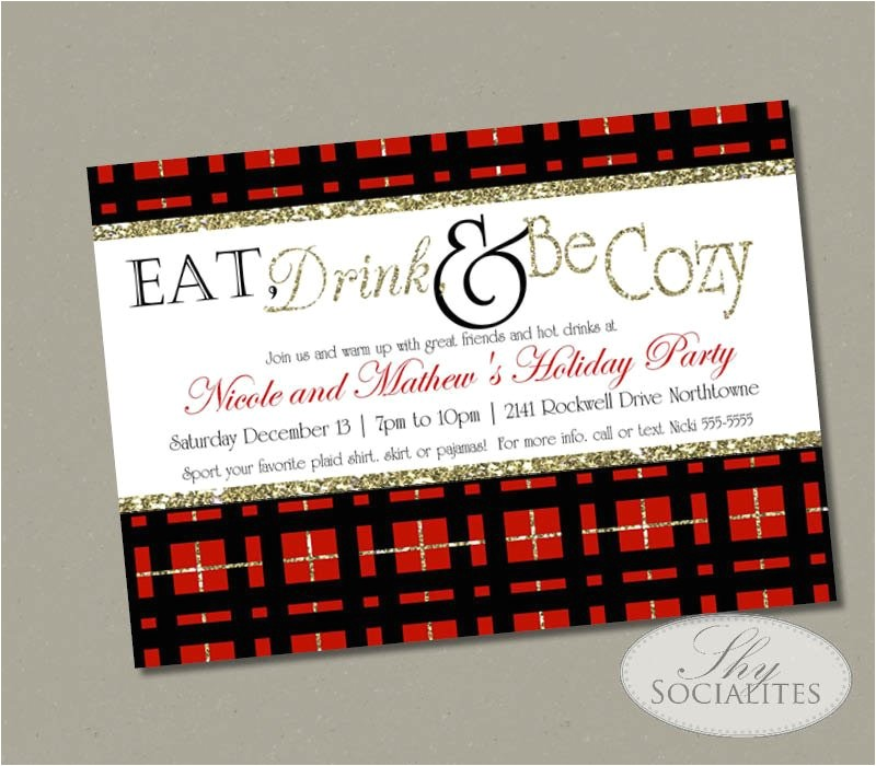 red plaid christmas party invitation eat