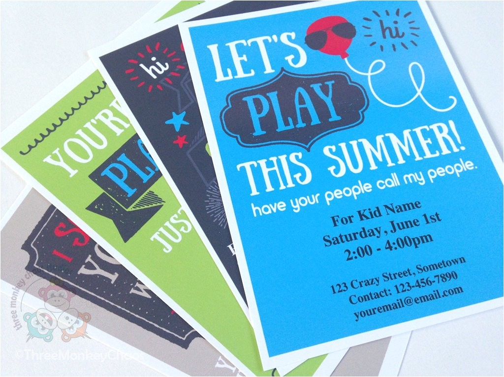 boy play date invitation summer birthday